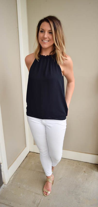 White Jeans Part 1: Navy + Gold