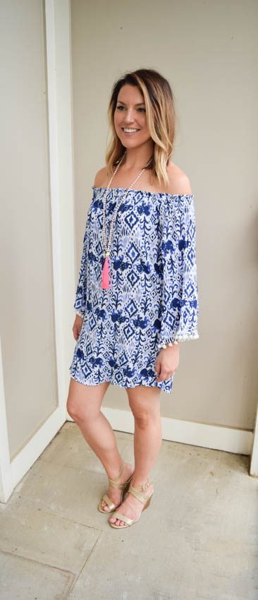 Pink, White, and Blue: Off the Shoulder Summer Dress